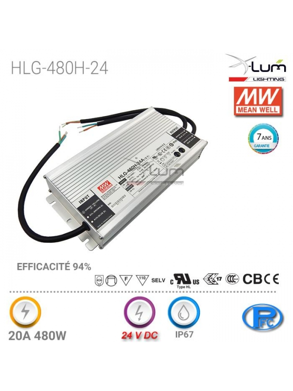 DISTRIBUTEUR Meanwell HLG-480H24 Mean Well