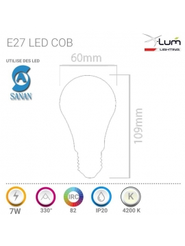 E27 COB LED 7W Neutre X-Lum-Lighting