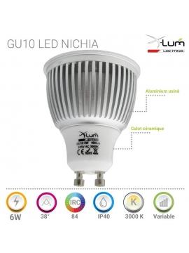 GU10 LED 6W chaud Nichia pro Dimmable