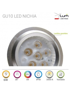 GU10 LED 6W chaud Nichia pro Dimmable