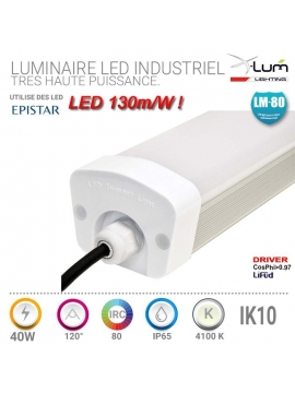 luminaire long 40W LED atelier garage.