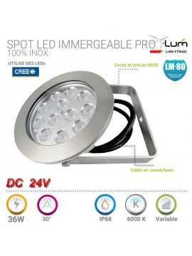 Spot LED immergeable inox 36W X-Lum-Lighting