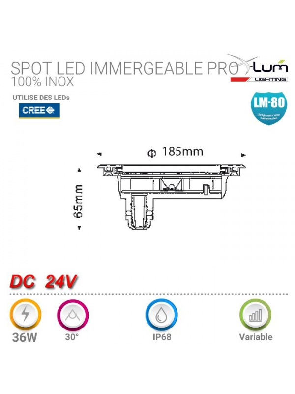 ENCASTRABLE LED 25W ROND 120° 4500K PVC