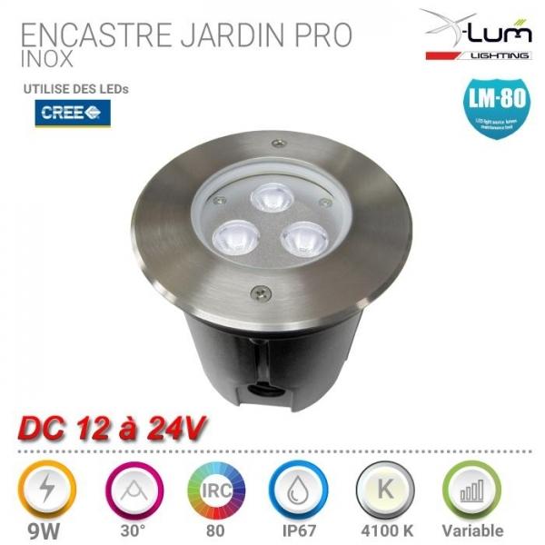 Spot LED jardin 9W Inox Pro