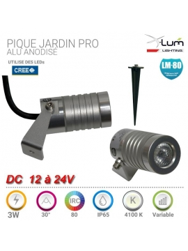 Piquet LED 3W jardin Alu Pro Dimmable