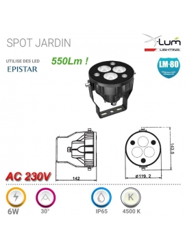Spot LED jardin 230V neutre 6W