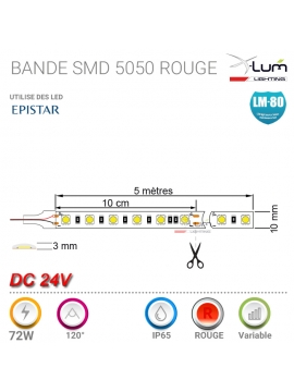 Bandeau LED rouge 24V 72W pro