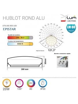 Hublot LED 20W étanche Pro Aluminium IP65