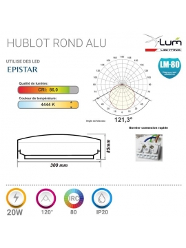 Hublot LED 20W détecteur pro IP65 X-Lum-Lighting