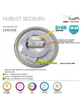 Hublot LED secours 15W Pro Fournisseur