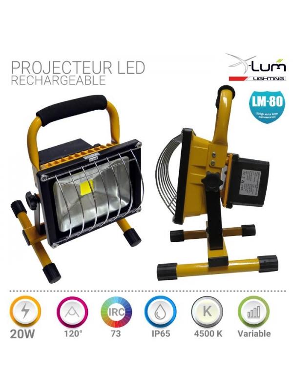 Projecteur LED rechargeable 20W