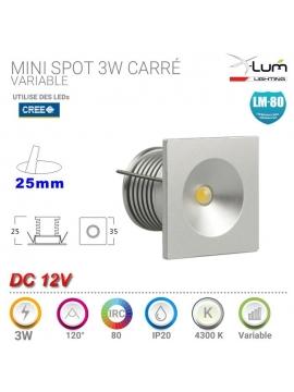 Mini spot LED 3W carré 12V