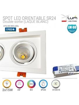 Spot LED encastré double 2x15W pro