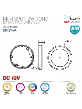 Kit mini spot 2W cuisine placard 12V