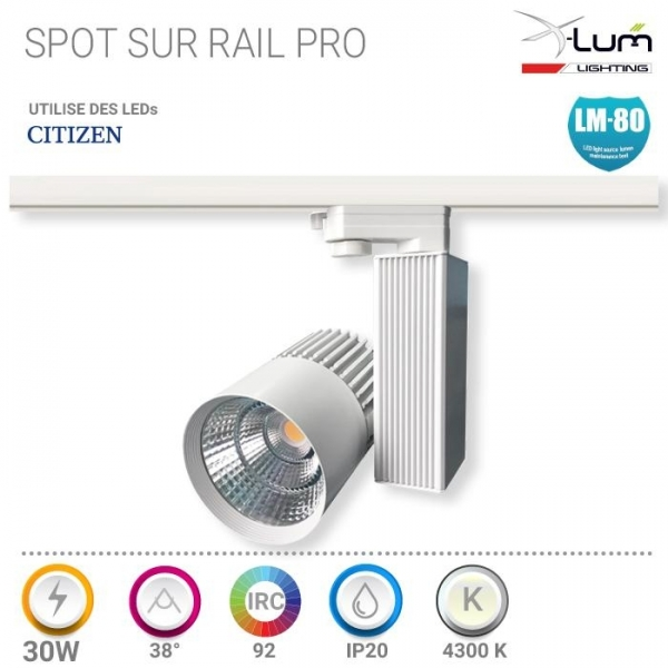 Spot LED rail 3 allumage 30W magasin