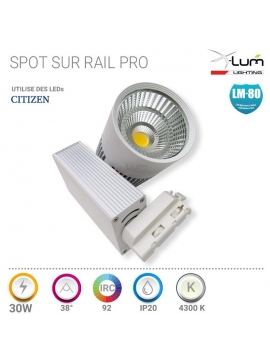 Spot LED rail 3 allumage 30W magasin