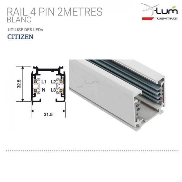 Rail 2 mètres 3 allumage spot LED