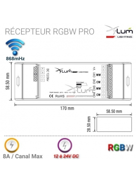 Récepteur RGBW radio x-lum-lighting RGBW4X8ARF