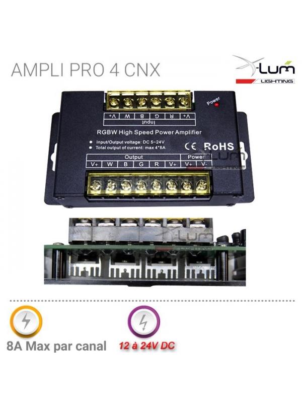 Ampli RGBW 4x8A forte puissance 12-24v